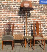 Pair of Edwardian bedroom chairs, standard lamp, pair of late Victorian chairs, rush seated stool