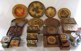 Collection of Polish wooden boxes and carved plates