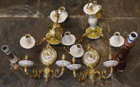 Pair of porcelain & gilt ceiling lights, pair of wall lights & 2 table lights