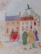 Gilt framed watercolour depicting the Nags Head Inn by Colin Carr '77 36cm x 43.5cm / 29cm x 22cm (