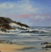 Large framed oil on canvas depicting coastal scene by Leslie Treacher size approx. 59cm x 60.5cm (