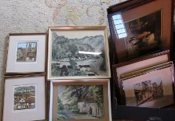 Quantity of limited edition prints, watercolour, hunting prints etc