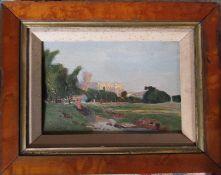 Framed oil painting of a rural church scene by W J Dukes 34 cm x 27 cm (size including frame)