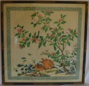 Oriental picture of birds in a landscape in a lacquer frame, with artists signature in bottom