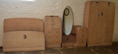 Art Deco bedroom suite comprising of wardrobe H 187 cm L 122 cm W 46 cm, cabinet H 122 cm L 64 cm W