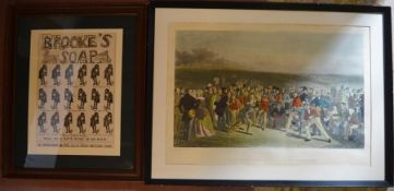 19th century framed print 'The Golfers' by Charles Lees & a framed Brooke's Soap advertising poster