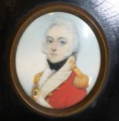 19th century portrait miniature of General William Taylor, bust length, in profile, wearing military