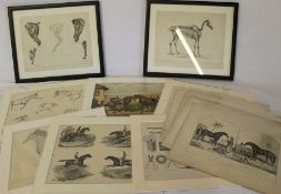 Selection of lithographic horse prints - some mounted and framed