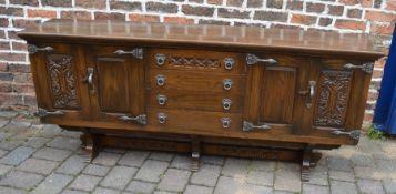 Large oak sideboard L190cm D 43cm H 80cm