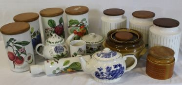 Selection of Portmeirion Pomona and Botanic Garden kitchenware, Hornsea canisters etc.