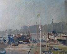 Framed oil on canvas depicting harbour scene by Ronald Ossory Dunlop RA (Irish 1894-1973) approx.