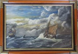 Oil on canvas of boats in a stormy sea by J R Chilvers, signed lower left corner 71 cm x 50 cm (size