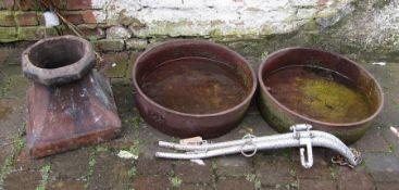 2 cast iron animal feeding troughs, chimney & horse hames