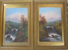 Pair of gilt framed and glazed oil paintings of waterfall scenes by W Collins 44 cm x 64 cm (size