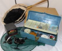 Mitchell spinning reel and two others, keep net, tackle box, butterfly nets, 2 specimen boxes etc.