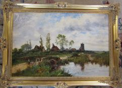 Gilt framed oil on canvas of a rural scene 'The Old Foot Bridge' by O T Clark 89 cm x 64 cm (size