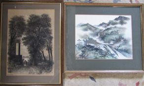 Victorian framed charcoal drawing by R Hardy dated 1869 & an Oriental silk painting