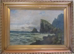 Large gilt framed and glazed oil on canvas of a seascape / coastal scene by Hayes signed 'Hayes'