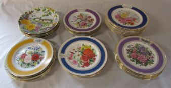 Collection of horticultural plates by Royal Doulton and Limoges etc inc Chelsea Flower Show
