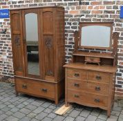 Late Victorian wardrobe with Art Nouveau inlaid panels and dressing table