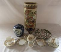 Assorted Oriental ceramics inc stick stand and ginger jar