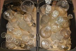 Selection of cut glass vases, decanters etc. (2 boxes)