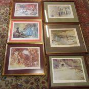 6 framed Russell Flint prints