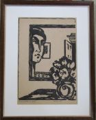 French wood cut print entitled La Juene fille au mirror (The girl at the mirror) pencil signed (