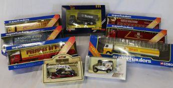 6 Corgi Superhaulers, a Mercedes Tipper 1128 and Lledo & Days Gone boxed vehicles