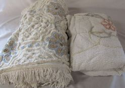 """2 candlewick bedspreads (double & 6' 8"""")"""