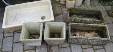 Large sink and two pairs of stone effect planters
