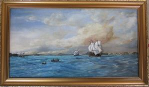 Oil on board of a nautical / harbour scene by J R Chilvers, signed lower left 83 cm x 49 cm (size