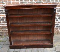 Victorian mahogany open bookcase (some veneer missing) H 122cm W 122cm D 28cm