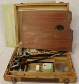 Windsor & Newton artist's box, palette, oil paints & canvases