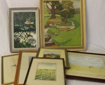 "2 TEJ Brooker watercolours, Philip Crome watercolour ""Next Stop Skegness"" etc."