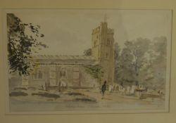 Follower of Constable - framed 19th century watercolour of Aldenham Church with a deep border