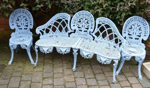 Ornate cast alloy garden bench and 2 chairs