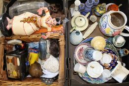 Selection of miscellaneous crockery, wind-up radio, chemist bottle, multi head doll with bisque