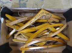 Selection of wooden coat hangers inc Grimsby and Lincoln
