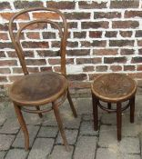 Bentwood chair and a bentwood stool