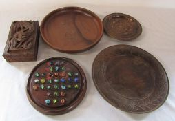 Various wooden bowls, solitaire board & box with carved dragon motif