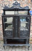 Ornate late 19th/early 20th century ebonised mirror back display cabinet H 227cm W 126cm D 37cm