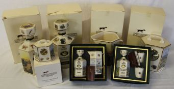 Selection of Pointers of London Game Shooting ceramics including 2 decanters, jug, small clock,