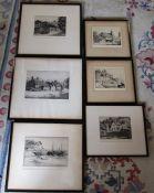 Various framed etchings signed S G Ferris inc Brixham harbour and Lamberhurst
