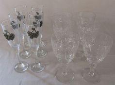 6 glass champagne flutes and grape design motif & 6 large crystal wine glasses / goblets