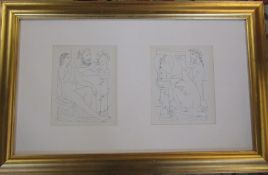 Pablo Picasso (1881-1973) pair of nude lithographic prints from the Vollard Suite published in