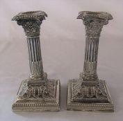 Pair of silver Corinthian column candlesticks Sheffield 1901 H 17 cm (weighted base)