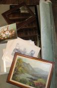 Lacquered wall mirror, oak framed mirror, selection of Lincoln prints & 2 oil paintings, rolls of