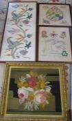 Assorted framed needlework inc Festival of Britain 1951 and bouquet of flowers