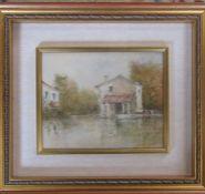 Framed oil on canvas Impressionist landscape by Ivoci 52 cm x 46 cm (size including frame)